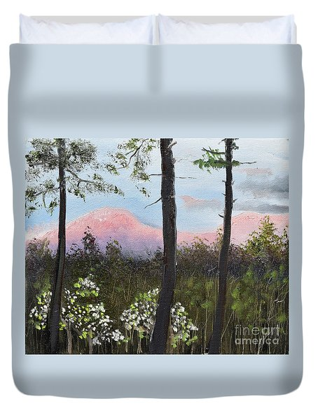 Duvet Cover featuring the painting Springtime At Pink Knob In Ellijay by Jan Dappen