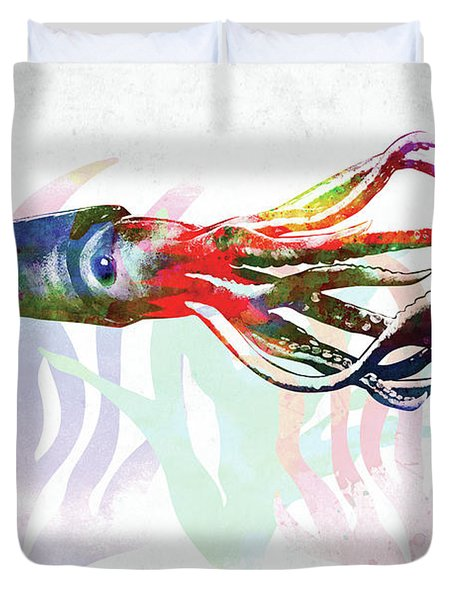 Squid Colorful Watercolor Duvet Cover