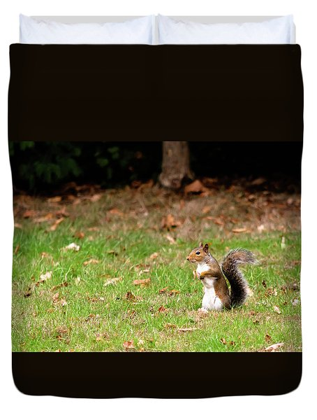 Duvet Cover featuring the photograph Squirrel Stood Up In Grass by Scott Lyons