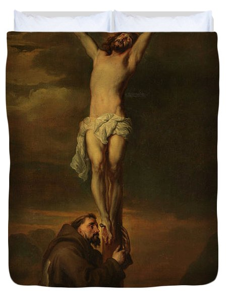 St Francis At The Foot Of The Cross, 1691 Duvet Cover