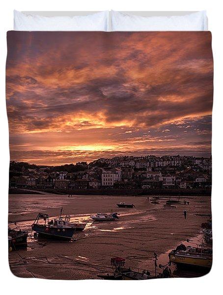 St Ives Cornwall - Harbour Sunset Duvet Cover