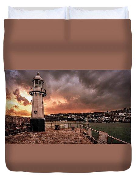 St Ives Cornwall - Lighthouse Sunset Duvet Cover