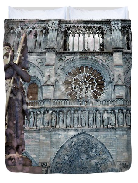 St Joan Of Arc Watch Over Notre Dame Duvet Cover
