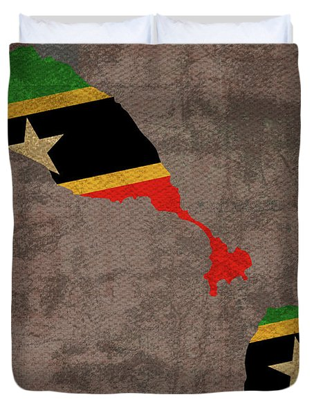 St Kitts And Nevis Country Flag Map Duvet Cover