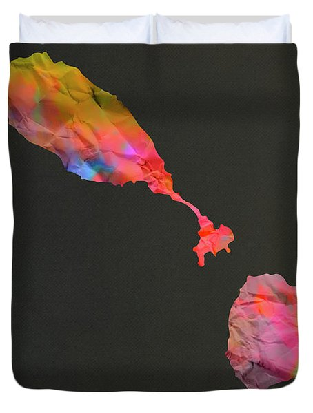 St Kitts And Nevis Tie Dye Country Map Duvet Cover