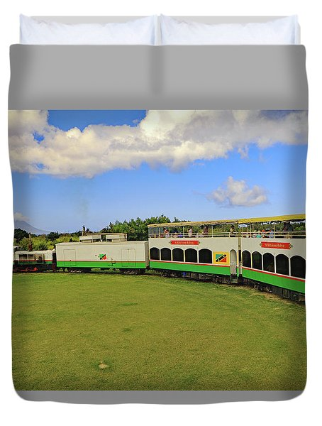 Duvet Cover featuring the photograph St Kitts Railway by Tony Murtagh