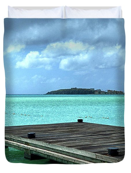 Duvet Cover featuring the photograph St. Maarten Pier In Aqua Caribbean Waters by Bill Swartwout Fine Art Photography