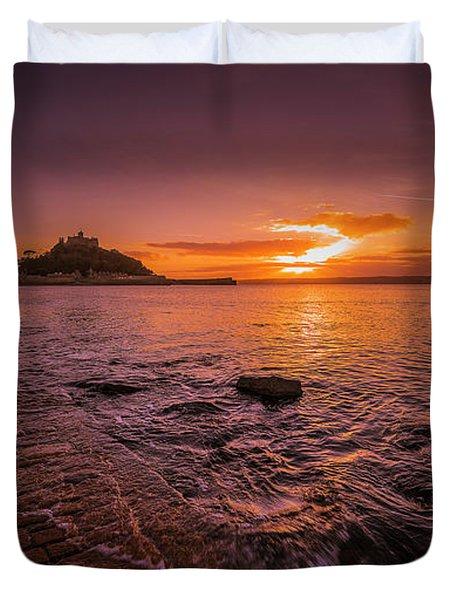 St Michael's Mount - January Sunset Duvet Cover
