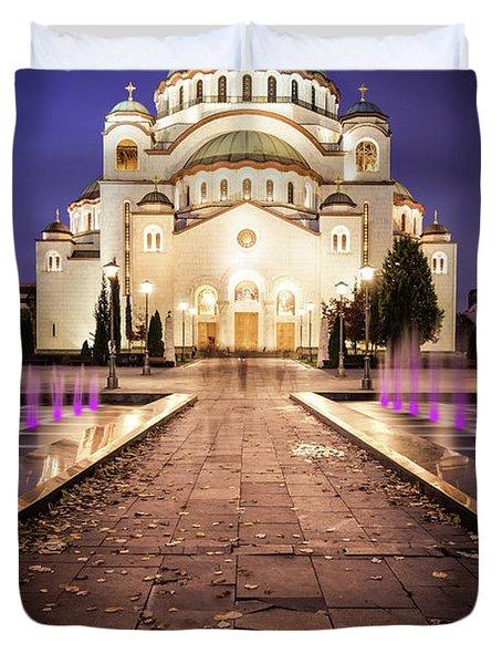 St. Sava Temple In Belgrade Nightscape Duvet Cover