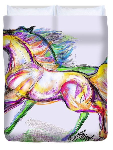 Duvet Cover featuring the digital art Crayon Bright Horses by Stacey Mayer