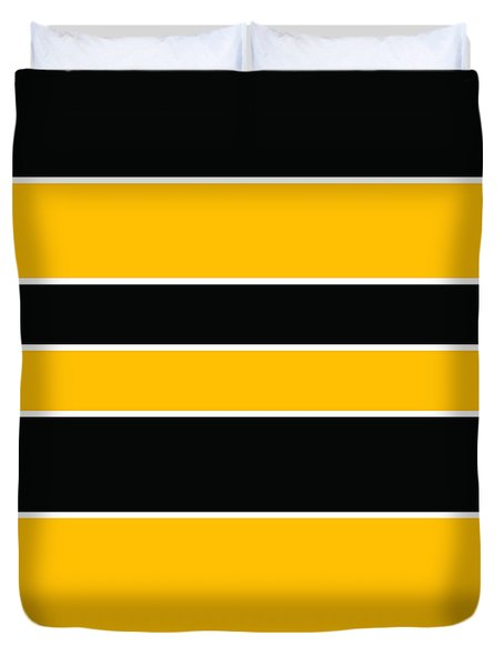 Stacked - Black And Yellow Duvet Cover
