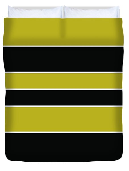 Stacked - Gold, Black And White Duvet Cover