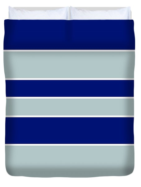Stacked - Navy, Grey, And White Duvet Cover