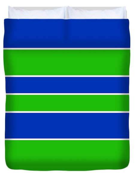 Stacked - Navy, White, And Lime Green Duvet Cover