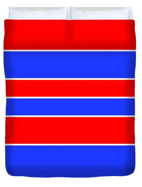 Stacked - Red, White And Blue Duvet Cover