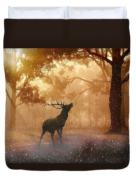 Stag In The Forest Duvet Cover