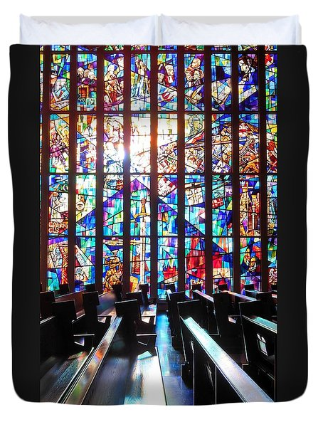 Stained Glass Historical Our Lady Of Czestechowa Shrine Duvet Cover