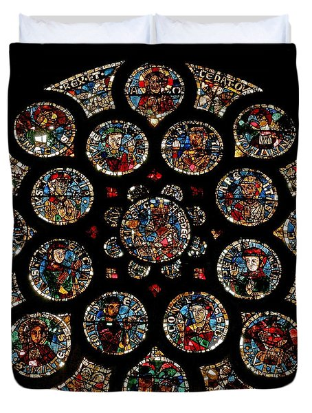Stained Glass Rose Window Depicting The New Covenant, Circa 1235 Duvet Cover