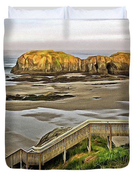 Duvet Cover featuring the photograph Stairs To The Beach by Thom Zehrfeld