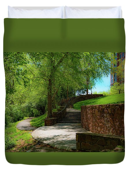 Duvet Cover featuring the photograph Stairway To Carlyle by Lora J Wilson