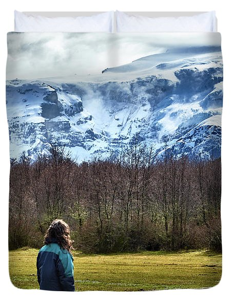 Person Standing Before The Tronador Hill In The Argentine Patagonia Duvet Cover