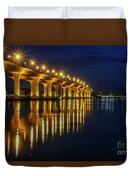 Duvet Cover featuring the photograph Starburst Bridge Reflection by Tom Claud