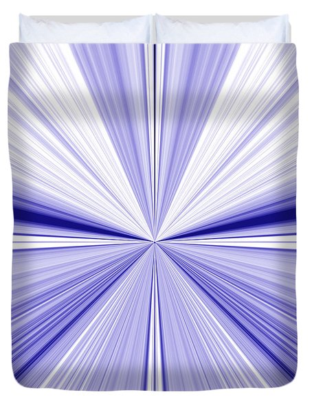 Starburst Light Beams In Blue And White Abstract Design - Plb455 Duvet Cover