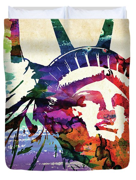 Statue Of Liberty Colorful Watercolor Duvet Cover