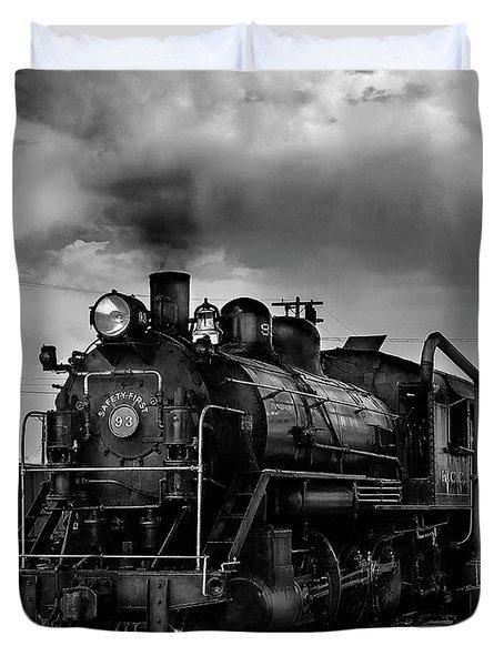 Steam Locomotive In Black And White 1 Duvet Cover