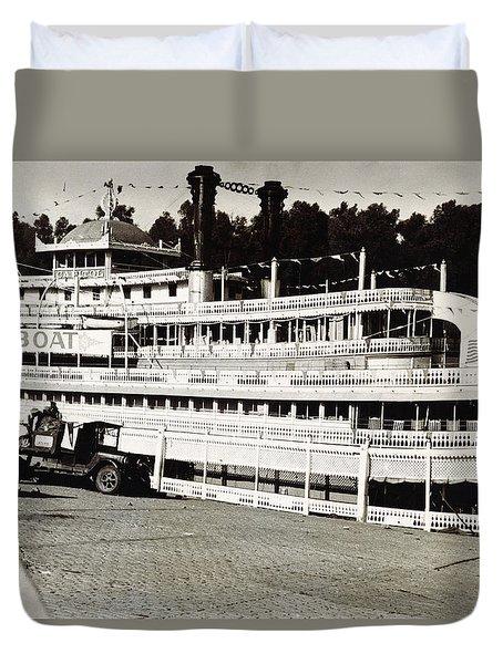 Steamboat Capitol, Show Boat, On Mississippi River In Arkansas 1935 Duvet Cover