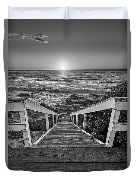 Steps To The Sun  Black And White Duvet Cover