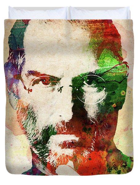 Steve Jobs Watercolor Portrait Duvet Cover