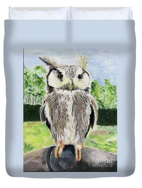 Duvet Cover featuring the painting Steve by Mkc