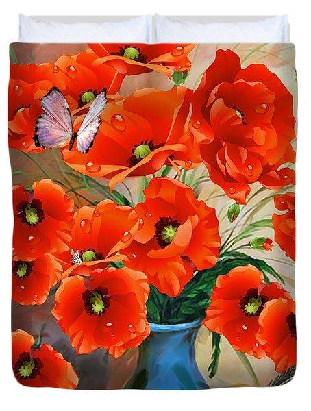 Still Life Poppies In Vase Duvet Cover