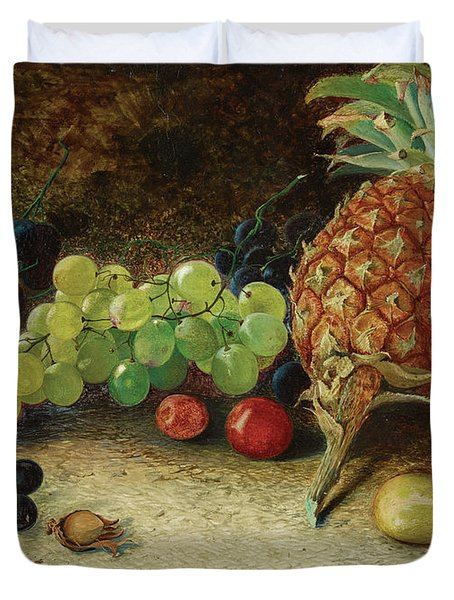 Still Life With A Pineapple, Grapaes, Nuts And Plum, 1862 Duvet Cover