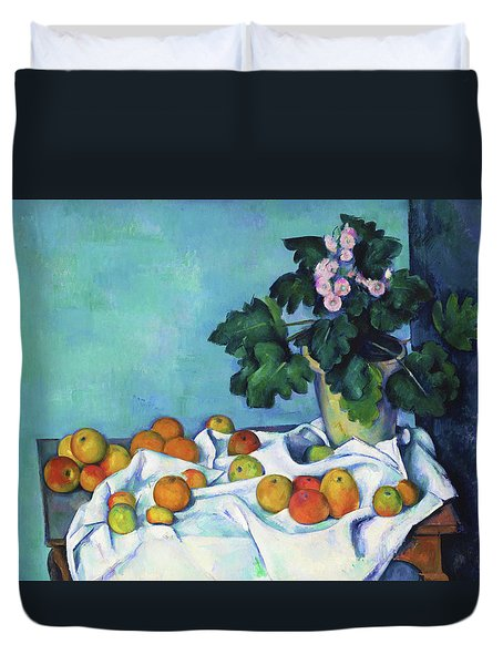 Still Life With Apples And A Pot Of Primroses - Digital Remastered Edition Duvet Cover