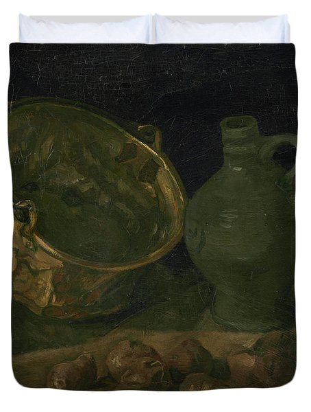 Still Life With Brass Cauldron And Jug Duvet Cover