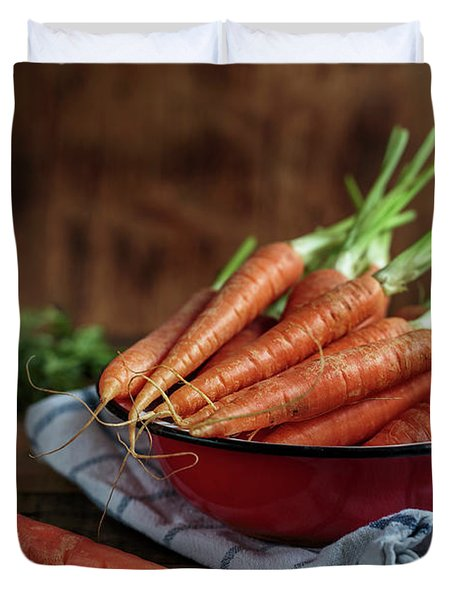 Still Life With Fresh Carrots Duvet Cover