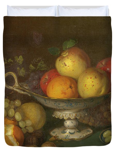 Still Life With Fruit, 1844 Duvet Cover