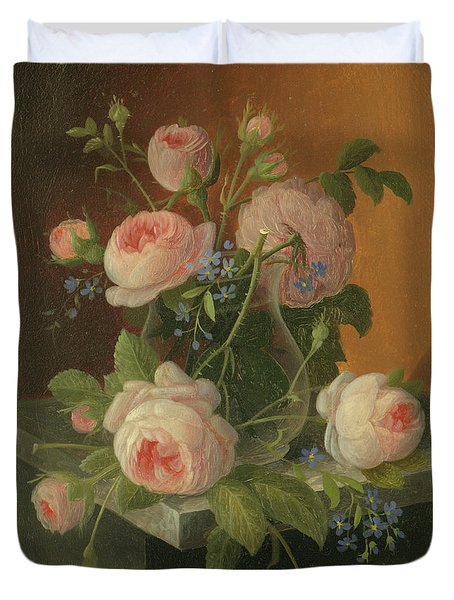 Still Life With Roses, Circa 1860 Duvet Cover