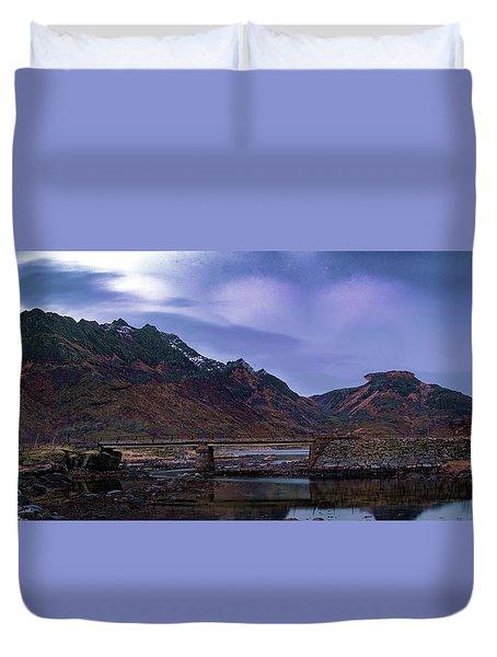 Stone Bridge On Lofoten Islands  Duvet Cover