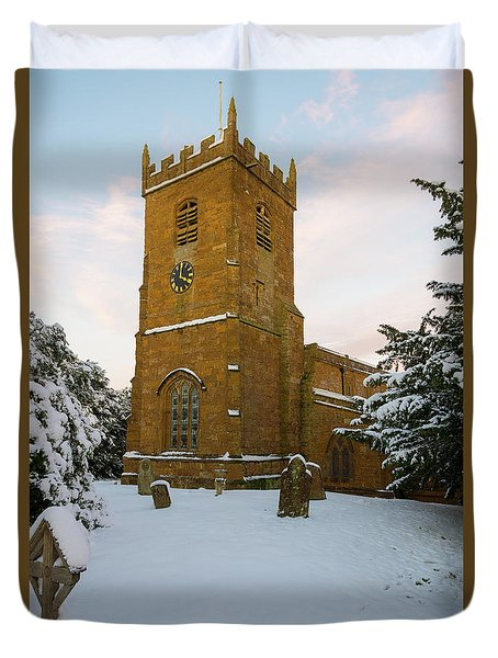 Stone Church In The Snow At Sunset Duvet Cover
