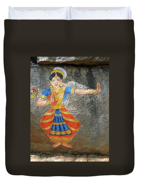 Stone Painting Of Nautch Dancing Gir Duvet Cover