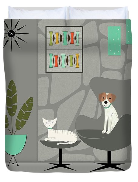 Stone Wall With Dog And Cat Duvet Cover