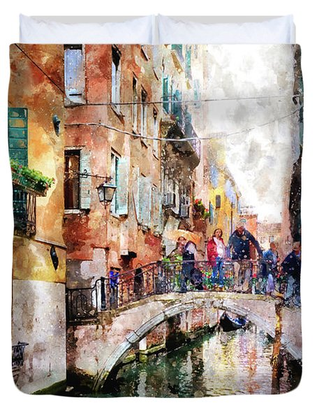People On Bridge Over Canal In Venice, Italy - Watercolor Painting Effect Duvet Cover