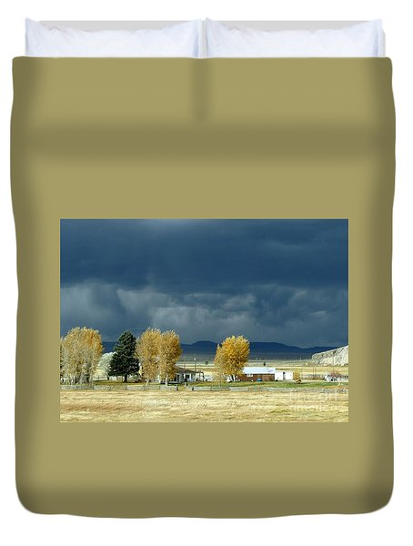 Duvet Cover featuring the photograph Storm Brewing by Rosanne Licciardi