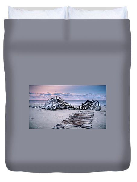Duvet Cover featuring the photograph Storm Fence Sunrise by Steve Stanger