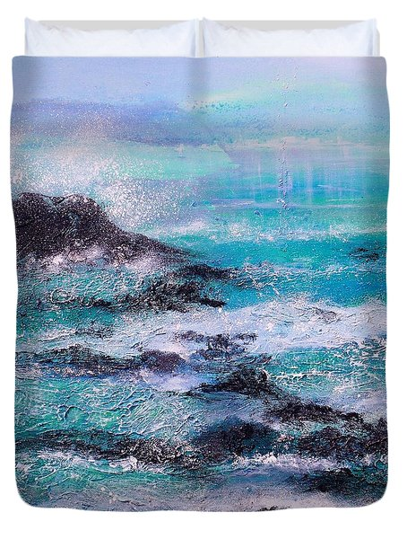 Stormy Sea With Breaking Waves  Duvet Cover