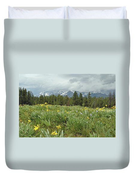 Stormy Tetons And Flowers Duvet Cover