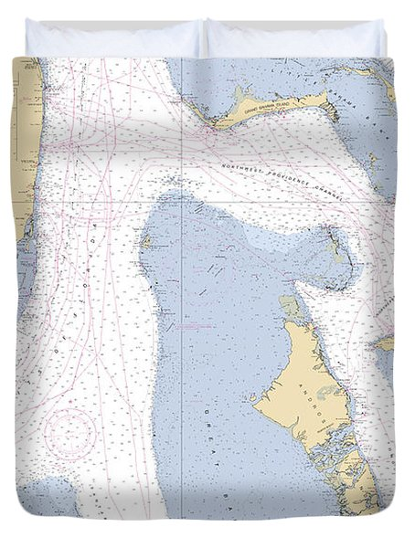 Straits Of Florids, Eastern Part Noaa Chart 4149 Edited. Duvet Cover